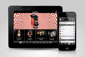 Tablet and phone with Nespresso App