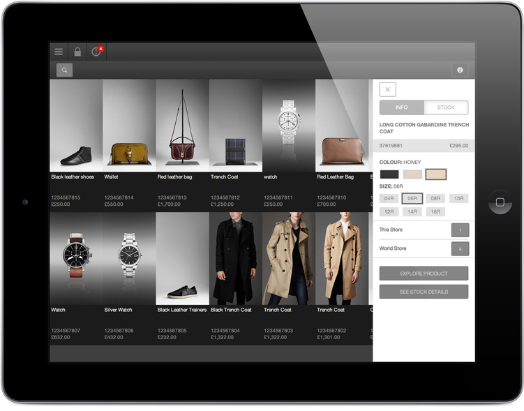 iPad with Burberry clienteling app